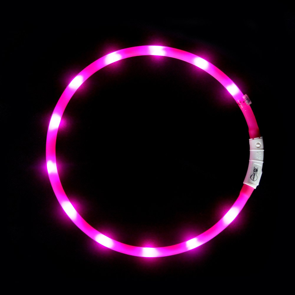 LED Dog Collar Light Up Night Safety Collar USB Rechargeable Waterproof for O...