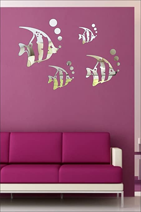Buy SRG India Acrylic Mural Fish Aquarium Silver 3D Removable Wall ...