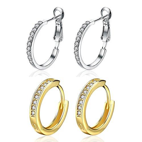 14K Gold Small CZ Hoop Earrings White Gold Rhinestone Crystal Cubic Zirconia For Women Girls (2pcs)