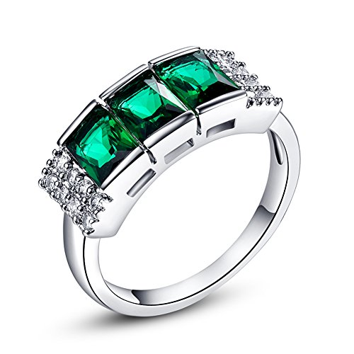 Psiroy 925 Sterling Silver Created Emerald Quartz Filled 3 Stone Ring Band Size 8