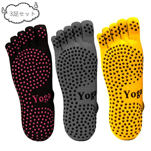 Sikimennzi ソックス レディース ヨガ 靴下 5本指 ピラティスソックス 抗菌消臭靴下 滑り止め付き ヨガウェア ヨガ用品 3足セット