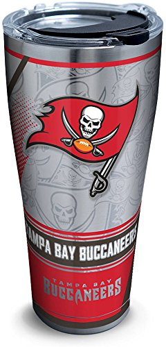 Tervis 1266695 NFL Tampa Bay Buccaneers Edge Stainless Steel Tumbler with Clear and Black Hammer Lid 30oz, Silver ()