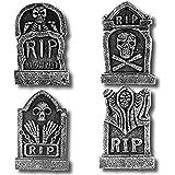 "Prextex Pack of 4 Halloween Décor 17"" Foam RIP Graveyard Tombstone Halloween Decorations RIP"