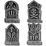 "Prextex Pack of 4 Halloween Décor 17"" Foam RIP Graveyard Tombstone Halloween Decorations RIP"
