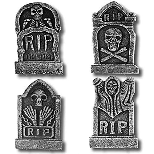 "Prextex Pack of 4 Halloween Décor 17"" Foam RIP Graveyard Tombstone Halloween Decorations -"
