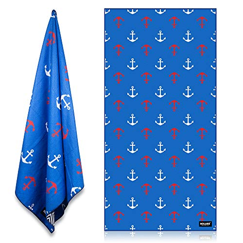 KOLLIEE Sand Free Beach Towels Portable Colorful Compact Beach Towels Absorbent Pool Towels Sand Proof Beach Towels for Adults Girls Women Kids 31x63 inch (Blue Anchor)