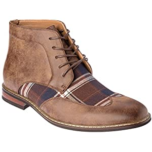 Mens Western Style Boots Lace-Up Brown PU-Leather Fashion Shoes Size 9