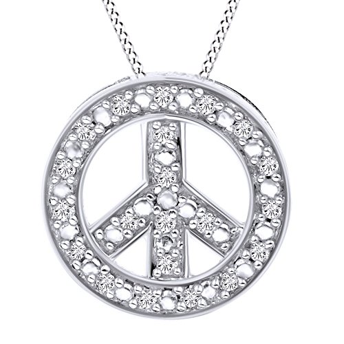 Round Cut White Natural Diamond Peace Sign Pendant Necklace In 14k White Gold (0.11 Cttw)