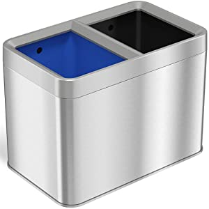 iTouchless Dual Compartment Slim Open Top Waste Bin for Trash Can and Recycle Container, 20 Liter / 5.3 Gallon Stainless Steel
