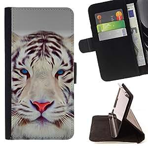 BullDog Case - FOR/LG G3 / - / tiger cute eyes feline big cat winter /- Monedero de cuero de la PU Llevar cubierta de la caja con el ID Credit Card Slots Flip funda de cuer