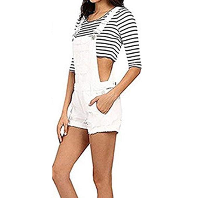 Pantaloni in Denim Donna Pantaloncini Casuale Salopette Moda Difficoltà  Jeans Elasticità Vita Pantaloni con Bretelle Tuta 54a8a6d957b7