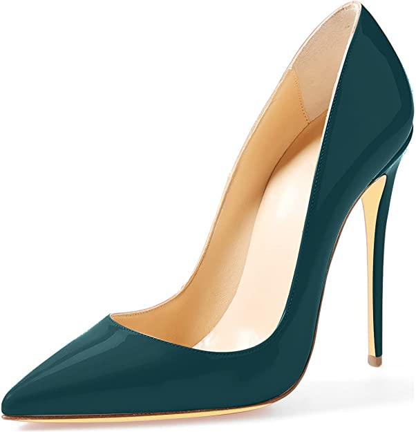 Women  Party Dress Shoes Pumps Pointed Toe Slip On Patent Stilettos High Heels