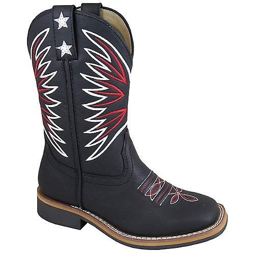 Smoky Mountain Boys' Falcon Western Boot Square Toe Black 9.5 D