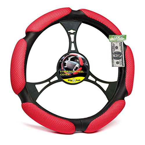 Big Ant Car Steering Wheel Cover (Red)- Air Mesh and Foam Padded Universal 15 inch With FREE Air Freshener