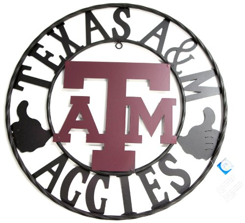 LRT SALES LLC NCAA Texas A&M Aggies Collegiate Wrought Iron Wall Decor, Black/Maroon, 24-Inch -
