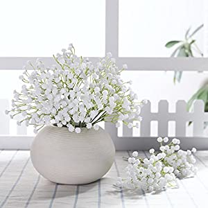 JUSTOYOU 10pcs Artificial Babies Breath Flowers Fake Gypsophila PU Silica for Wedding Bridal Bouquet Home Floral Arrangement White 74