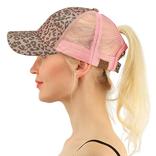 C.C Ponytail Messy Buns Trucker Ponycaps Plain Baseball Visor Cap Dad Hat Leopard Glitter Rose/Pink
