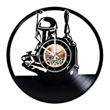 Boba Fett Vinyl Record Wall Clock – Home room or Living Room wall decor – Gift ideas for friends, parents, teens – Star Wars Unique Art Design