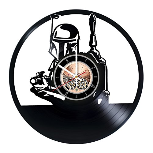 Boba Fett Vinyl Record Wall Clock - Home room or Living Room wall decor - Gift ideas for friends, parents, teens - Star Wars Unique Art Design ()