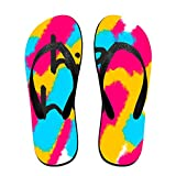 Stylish Lightweight Women's Men's Personalized Beach Flip Flops Hip Hop Abstract Painting Beach Slippers