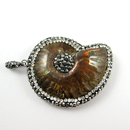 Natural Ammolite Fossil Mineral Stone with Zircon Pave Edging, Necklace Pendant
