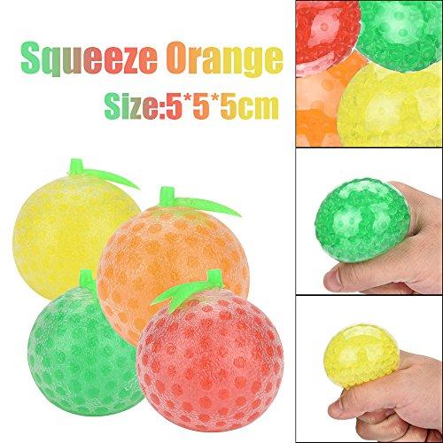 LUBITY 5cm Caoutchouc Orange Balle Main Poignet Squeeze Jouet Stress Autisme Humeur Secours Cadeau