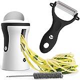 Vremi Spiralizer Vegetable Slicer Set - 3-Blade Handheld Vegetable Noodles and Zucchini Spaghetti Maker - Spiral Slicer Machine with Peeler - Stainless Steel Blade Mandoline Slicer - Black and White