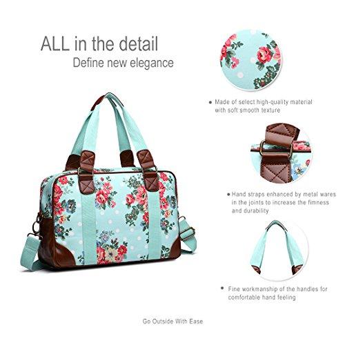 Damen-Reisetasche mit Blumen und Punkten Blau NnQ61O1f