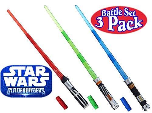 Star Wars Darth Vader, Luke Skywalker & Obi-Wan Kenobi Electronic BladeBuilder Extendable Lightsabers Battle Set Bundle - 3 Pack ()