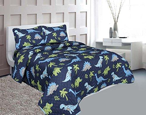 Golden linens Full Size 3 Pieces Printed New Designs Kids Bedspread/ Coverlet Sets/ Quilt Set (Full, DINOSAUR) (Dinosaur Bedding Full Size)