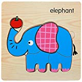 Dds5391 Wooden 3D Tiger Fish Marine Animal Jigsaw Puzzles Board Educational Kids Toy Puzzle Board Toy Elephant##