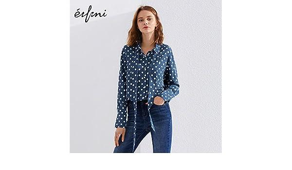 95989ffa434 XXIN Parte Long-Sleeved Blusas Camisas Sueltas Chicas Punto de Onda Azul XL   Amazon.es  Deportes y aire libre