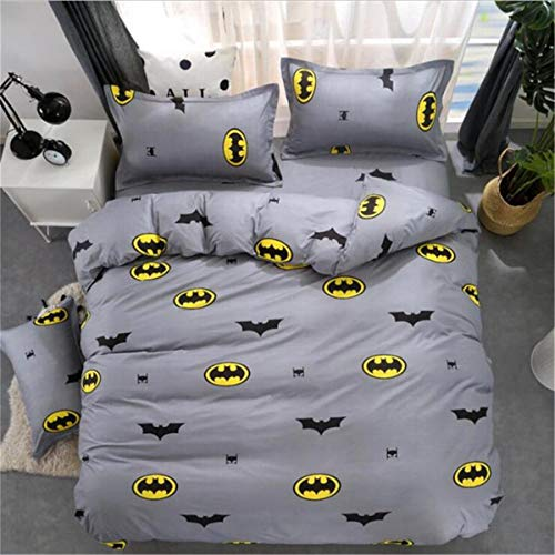 (ZI TENG New Cartoon Batman Bedding Set Student Teenagers Love Duvet Cover 3PC100% Polyester Bed Set1Duvet Cover,2Pillowcases,Twin Full Queen Size)