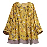 Keliay Bargain Women Vintage Retro Boho Floral Top Tee T Shirt Loose Plus Size Blouse