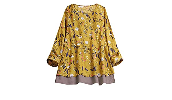 ed0984a8aac07 Women Plus Size Dot Print Shirt Loose Cotton Short Sleeved Blouse Vintage  Tops ... at Amazon Women s Clothing store