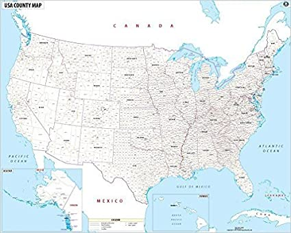 Map Of The United States Of America With Names.Amazon Com Usa Map With County Names Office Products