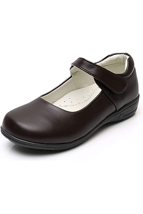 THEE BRON Girls Mary Jane School Uniform Dress Shoes 11M, S08-Black