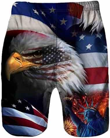a178dd56177a0 Allywit Men Shorts Men's USA Flag Quick Dry Beach Board Shorts Swim Trunk