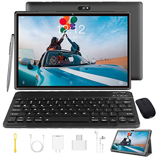 Tablet 10 Inch Tablet PC with Keyboard Android 9.0, Google GMS Certified, 3 GB RAM, 32 GB ROM / 128 GB Expandable, Quad…