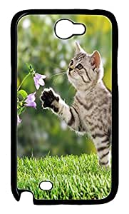 Samsung Note II Case Little Cat And Flowers PC Custom Samsung Note 2 Case Cover Black