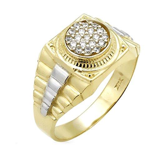 10k Yellow And White Gold 0.30Ct Created Diamond Jubilee Style Men's Signet Ring Diamond Shape Signet Ring