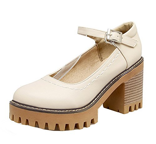 WeenFashion Pu Beige Pumps Solid with Toe Buckle Women's Shoes High Jewels Heels Round Closed rZr4Bw