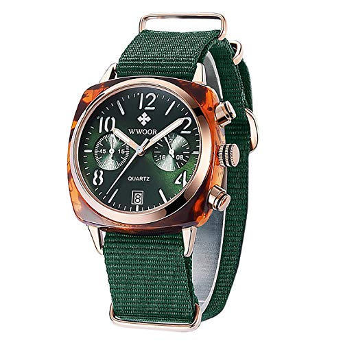 - WWOOR Women's Watch Nylon Sport Multifunction Watch Fashion Analog Quartz Watches with Date Waterproof Wristwatch Casual Gift Watch Ladies (Green)
