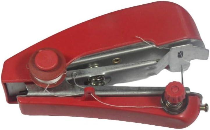 EXCEART Mini Máquina de Coser de Mano Máquina de Coser Inalámbrica Portátil Manual para Reparación de Mezclilla de Costura (Color Aleatorio)