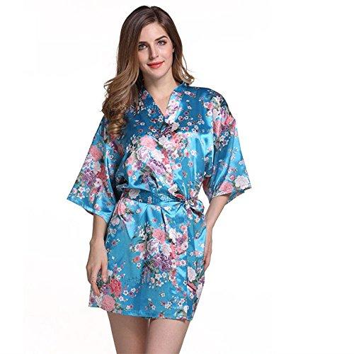 La Sra párrafo chaqueta corta impresa primavera y el verano camisón de peonía bata corta Blue