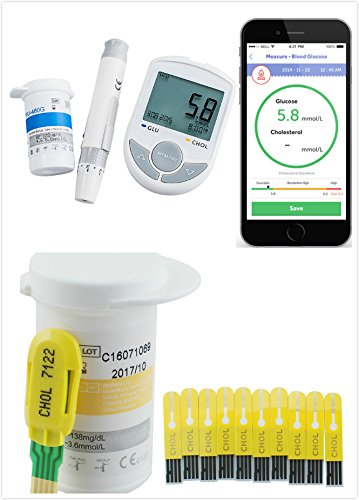 Denshine Glucose & Cholesterol 2in1 Monitoring kit Meter Monitor Bluetooth 4.0 with 50 Glucose Test Strips add 50 Twist Lancets with APP for IOS, Android + Cholesterol Test Strips 10pcs