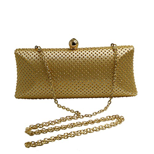 DOREE Womens Evening Clutch with Rhinestone and Crystal Evening Bag Gold by DOREE (Image #4)