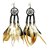 STHstore Earrings Handmade Natural Pheasant Feather Earrings, Fashion Earrings for Womens (Dream Catcher)