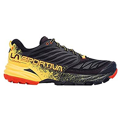 La Sportiva Akasha Men's Trail Running Shoe, Black/Yellow, 38