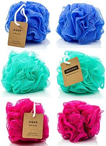 6-Pack Eco-friendly Loofah/Loofa/Mesh Bath and Shower Sponge - Loufa/Luffa/Lufa/Poof/Pouf - Perfect Loofahs/Loofas for Men and Women - Bulk Body Puffs - By IMPRESA